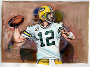 Nfl Drawings Prints - Aaron Rodgers Print by Dave Olsen