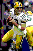 Aaron Rodgers Prints - Aaron Rodgers Print by Michael Knight