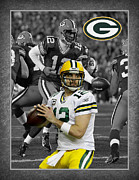 Defense Photo Framed Prints - Aaron Rodgers Packers Framed Print by Joe Hamilton