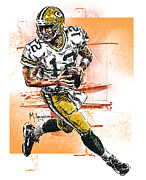 Green Bay Prints - Aaron Rodgers Scrambles Print by Maria Arango