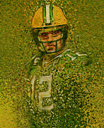 Green Bay Prints - Aaron Rogers Green Bay Packers Print by Jack Zulli