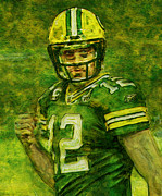 Packers Posters - Aaron Rogers Poster by Jack Zulli