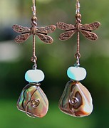 Jewelry Originals - Abalone Dragonfly Earrings by Kelly Nicodemus-Miller