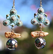 Featured Jewelry Metal Prints - Abalone Mosaic Earrings Metal Print by Kelly Nicodemus-Miller