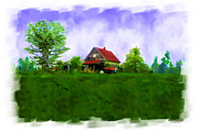 Dilapidated Digital Art - Abandond Farm house Digital paint by Debbie Portwood