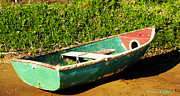 Green Boat Prints - Abandoned  Print by Barbara Snyder