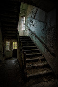 Abandoned Buildings Photo Prints - Abandoned Building - Haunting Images - Stairwell in building 138 Print by Gary Heller