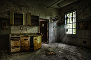 Light Beams Art - Abandoned building - Old asylum - Open cabinet doors by Gary Heller
