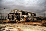 Broken Bus Framed Prints - Abandoned Bus Framed Print by Waleed Sherif