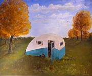 Camper Paintings - Abandoned Camper by Tom Rose