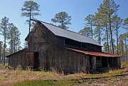 Wooden Structure Photos - Abandoned Carolina Barn by Suzanne Gaff