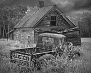 Rusted Cars Framed Prints - Abandoned Chevy and Homestead Framed Print by Randall Nyhof