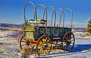 Winter Photo Posters - Abandoned Covered Wagon Poster by Ken Smith