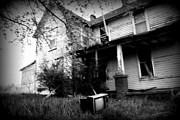 Abandoned Farm House Black And White Print by Catherine Sherman