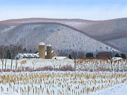 Snow On Barn Posters - Abandoned Farm in the Mountains Shadow Poster by Barb Pennypacker