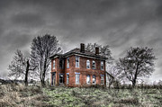 Haunted House Digital Art Framed Prints - Abandoned Farmhouse before the Storm Framed Print by Jon Dickson