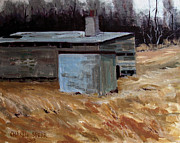 Outbuildings Painting Framed Prints - Abandoned Ice House circa late 1800.s Framed Print by Charlie Spear