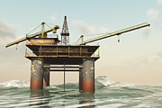 Sea Platform Digital Art Posters - Abandoned off shore oil rig Poster by Mike Heywood