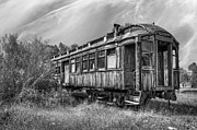 Stair-rail Framed Prints - Abandoned Passenger Train Coach Framed Print by Daniel Hagerman