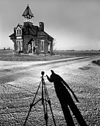 Abandoned School House And My Shadow Circa 1985 Print by John Hanou