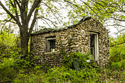 Hauntings Framed Prints - Abandoned Stone Cottage Hazelgreen Missouri Framed Print by Deborah Smolinske