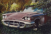 Old Car Drawings Prints - Abandoned Thunderbird Print by Paul Kuras