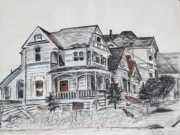 Old Houses Drawings - Abandoned Victorian and Neighbors in Oakland California by Asha Carolyn Young