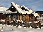 Winter Abondoned Cabin Prints - Abandoned Print by Vladimir Kholostykh