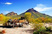 Southwest Digital Art Prints - Abandoned Wagon Print by Michael Petrizzo
