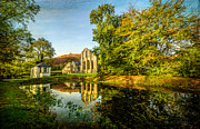 Ruins Digital Art Metal Prints - Abbey Lake Autumn Metal Print by Adrian Evans