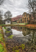 North Wales Digital Art Metal Prints - Abbey Reflection Metal Print by Adrian Evans