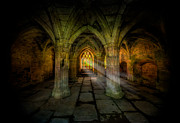 Ruins Digital Art Metal Prints - Abbey Sunlight Metal Print by Adrian Evans