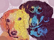 Pups Digital Art - Abby and Simon by Cindy Edwards