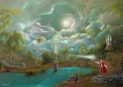 Staff Paintings - Abbys Inlet. Fantasy Fairy Tale Landscape Painting. By Philippe Fernandez by Philippe Fernandez