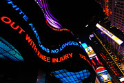 Nighttime Prints - ABC News Scrolling Marquee in Times Square New York City Print by Amy Cicconi