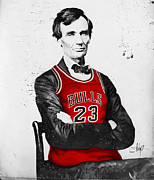 Michael Framed Prints - Abe Lincoln in a Bulls Jersey Framed Print by Roly D Orihuela