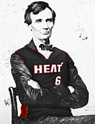 Team Mixed Media Metal Prints - Abe Lincoln in a Lebron James Jersey Metal Print by Roly D Orihuela