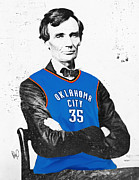 Basketball Digital Art - Abe Lincoln in an OKC Thunder Jersey by Roly D Orihuela