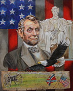 President Paintings - Aberaham Lincoln  by Jan Mecklenburg