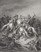 Fight Drawings Posters - Abishai Saves the Life of David Poster by Gustave Dore