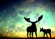 Deer Silhouette Digital Art - Ablaze  by Nomad Art And  Design