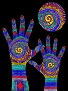 Saint Jean Art Gallery Posters - Aboriginal Hands to the Sun Poster by Barbara St Jean