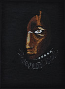 Portraits Tapestries - Textiles Metal Prints - Aboriginal Woman Metal Print by Jo Baner