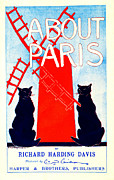 Paris Black Cats Framed Prints - About Paris Advertisement 1895 Framed Print by Padre Art