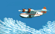 21 Paintings - Above it all  the Grumman Goose by Gary Giacomelli