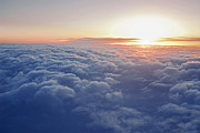 Airliner Prints - Above the clouds Print by Elena Elisseeva