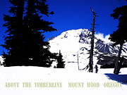 Skiing Art Cards Posters - Above The Timberline  Mt Hood  Oregon Poster by Glenna McRae