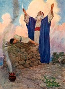 Boy Drawings Posters - Abraham and Isaac on Mount Moriah Poster by William Henry Margetson