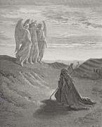 Kneeling Framed Prints - Abraham and the Three Angels Framed Print by Gustave Dore