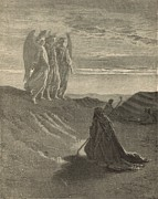 Angels Drawings - Abraham Entertains Three Strangers by Antique Engravings